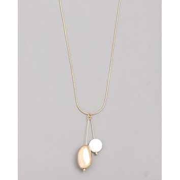 Double Pearl Pendant Necklace