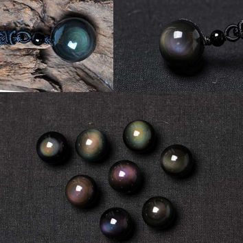 Natural 5AAA+ Black Obsidian Stone Pendant Necklace Rainbow Eye Beads Ball Transfer Lucky Love Crystal Jewelry Necklace