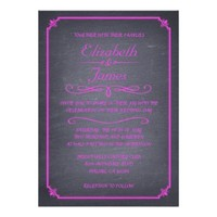 Hot Pink Vintage Chalkboard Wedding Invitations