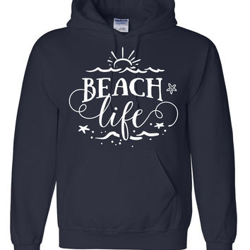 Beach life surfing surfer hoodie for her for him birthday gift