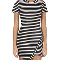 Asymmetrical Striped Dress - Black/White /
