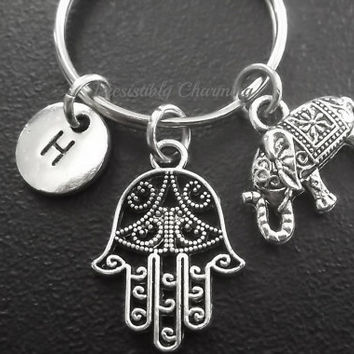 Hamsa protection hand, elephant keyring, keychain, bag charm, purse charm, monogram personalized custom gifts under 15 item No.703