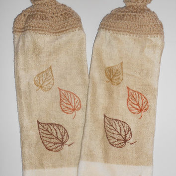 Autumn Leaves Kitchen Set, Crochet Hanging Towels, Pot Holders, Oven Mitt, Neutral Colors with Fall Leaves