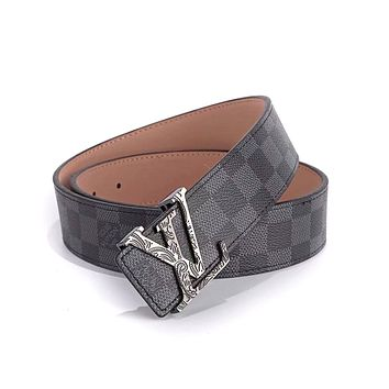 LV tide brand men and women models simple wild pattern letters smooth buckle belt Black check