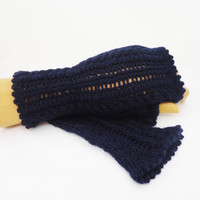 Fingerless knit Mittens, Flirty and Ultra-feminine Mitts, Cables and Lace Fingerless Mittens, Navy Blue Fingerless Mittens, Dark Blue Mitts