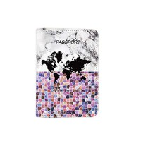 Marble World Map Adventure Awaits Leather Passport Holder - Passport Protector - Passport Cover - Passport Wallet_SUPERTRAMPshop (PPVA286)