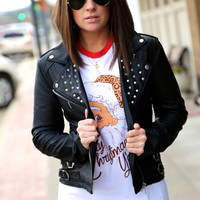 Studded Moto Jacket - Black