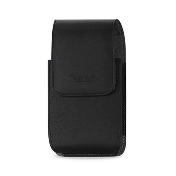 Reiko VERTICAL LEATHER POUCH XXXL PLUS-BLACK WITH MEGNETIC AND BELT CLIP INNER SIZE: 6.38X3.53X0.62INCH