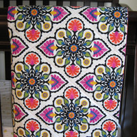 Baby Girl Quilt, Bright Modern Pattern backed with Paisley, Crib Blanket, Modern Nursery Decor