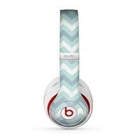 The LightTeal-Colored Chevron Pattern Skin for the Beats by Dre Studio (2013+ Version) Headphones