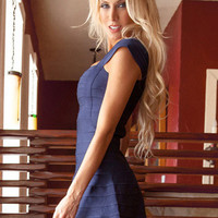 Blue Cap Sleeve Square Neckline Mini Dress
