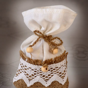SET OF 50 Natural Rustic Burlap and Linen Wedding Favor Bag or Gift Bag 3x5 inches with lace and wood ball