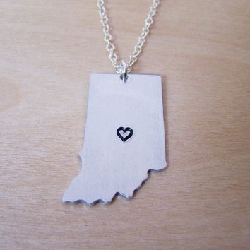 Hand Stamped Heart Indiana State Sterling Silver Necklace / Gift for Her