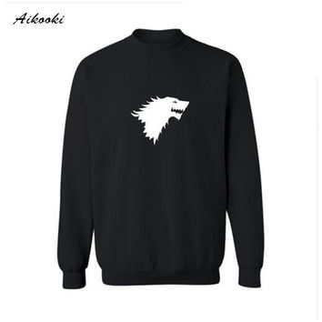 2017 hot Punk Game of Thrones White Harajuku Sweatshirt Women in Wolf Symbol Hoodies Thick Hoodies Women Sweatshirt Hoodies 4XL