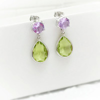 Green Earrings - Lavender Jewelry - Spring Jewelry - Easter Jewelry - Teardrop Earrings - Wedding Jewelry - Prom Earrings - August Jewelry