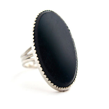 Vintage Sterling Silver Onyx Black Ring -  Signed Beau Size 5 Statement Size Jewelry / Oblong Oval