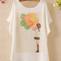 Balloon Print Casual Scoop Neck Batwing Sleeve T-Shirt