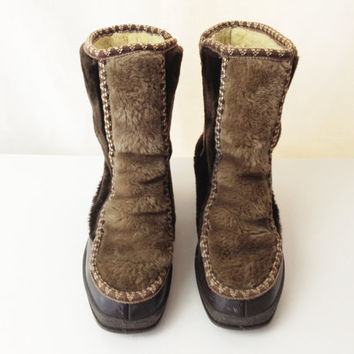Vintage Snowland Boots - Faux Fur Boots - Size 7 or 7.5 - Eskimo Boots - Shearling Boots - Brown Boots - Ski Boots - Snow Boots - Fur Boots