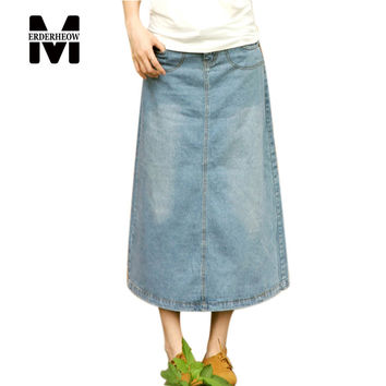 Merderheow 2017 Spring Fashion Korean style all-matched Casual Women Maxi Skirt Vintage Denim Long Skirt Top quality L392