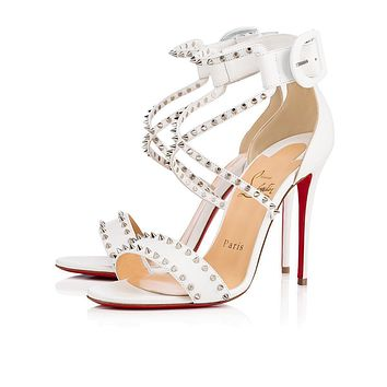 Cl Christian Louboutin Choca Spikes Latte/silver Leather 17w Bridal 3170560w083