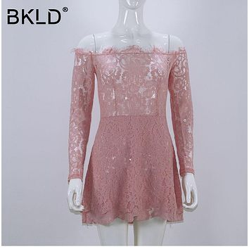 BKLD Women Floral Vestidos 2017 New Autumn Elegant Vintage Retro Eyelash Lace Dress Long Sleeve Off Shoulder Bodycon Party Dress