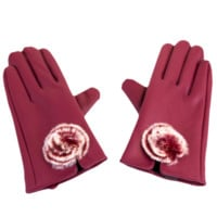 Pom-Pom Faux Leather Gloves