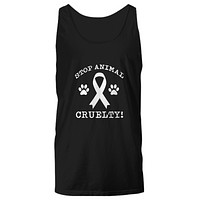 Stop Animal Cruelty! Paws Ribbon Save Dogs and Pets Tank Top