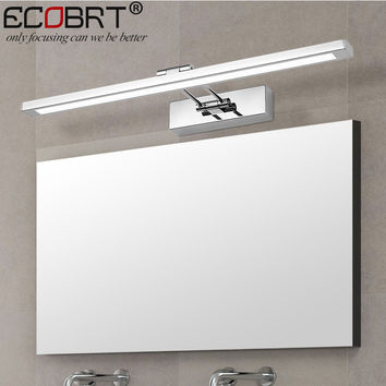 [Ecobrt] Modern Stainless Steel Led Wall Lights W/ Swing Arm Bathroom Sconces Mirror Tube Lighting 8W 12W 16W