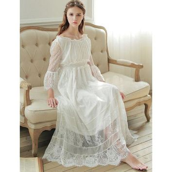 DKLW8 Free Shipping 2017 New Spring Princess Nightdress Royal Pyjamas Women's Long Nightgown White Lace Sleepwear Can Outer Wear