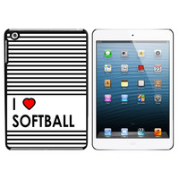 I Love Heart Softball iPad Mini Case