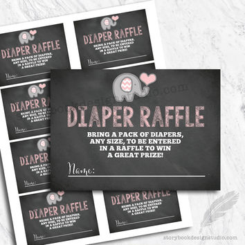 Elephant Chevron Chalk Baby Shower Diaper Raffle Tickets