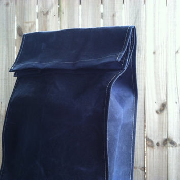 WAXED Organic Navy Blue Duck Cotton Non-Paper Bag - Grocery Bag, Reusable Six-Pack Beer Bag