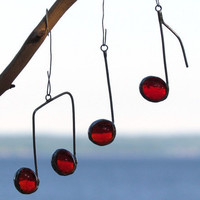 Three Glass Musical Notes Red and Silver Suncatcher Ornaments