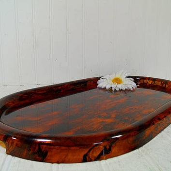 Georges Briard Amber Look Lucite Tray, Large Oval Mid Century Entertaining Serving Platter, Vintage Tiger Eye Style Plastic Retro Party Tray