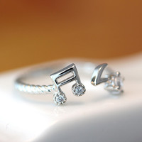 Music Note Ring Crystal Ring Adjustable Free Size Open Wrap Ring gift idea