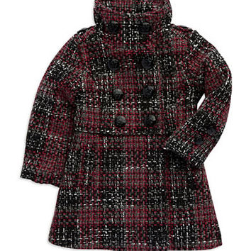 Jessica Simpson Girls 2-6x Plaid Tweed Coat