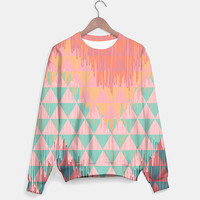 IKAT GEOMETRIE SWEATER #sweater #geometric #abstract #trend #triangles #colorful #fashion #girly #sporty #cool #coral #pink #mint #jumper