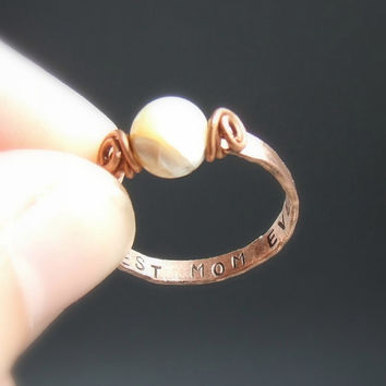 Mothers ring, gifts for daughter, copper ring, personalized jewelry, spiritual jewelry, mother of pearl ring