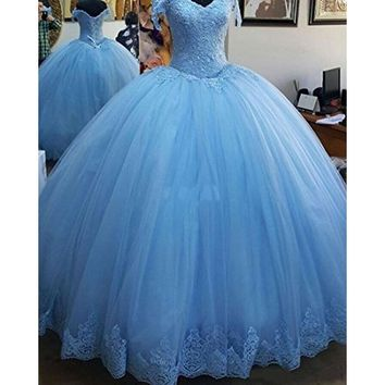 Ball Gown Quinceanera Dresses Charming Appliques Corset Full-Length Womens Sweet 16 Debutante Gowns Formal Prom Party Dress