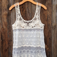 Crocheted Lace Top - One Size / Ivory