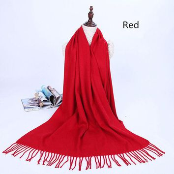 DCCKJG2 Solid color warm students tassel wool scarf Autumn and winter long thick cashmere dual-use cashmere shawl