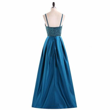 Sexy V Neck Satin A Line Spaghetti Strap Long Prom Dresses Beading Sequined Floor Length Prom Dress