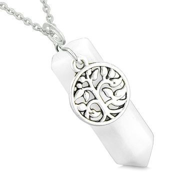 Magical Tree of Life Energy Amulet Lucky Crystal Point White Simulated Cats Eye Pendant 22 Inch Necklace