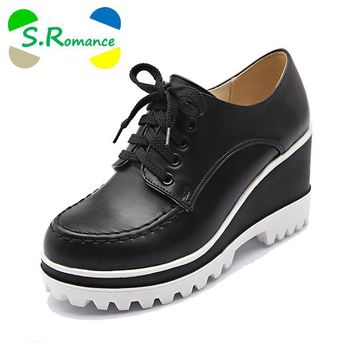 S.Romance Plus Size 34-43 Women Pumps Fashion Round Toe Lace-Up Wedges Med Heel Ankle