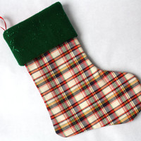 Vintage Plaid Christmas Stocking, Green Felt, Retro Stocking