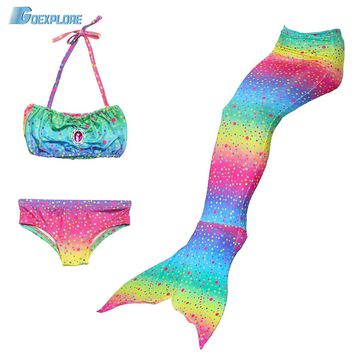 Goexplore 3PCS/Set Mermaid Tail Swim Suit 2018 Children Girls Kids Swim able cosplay Bikini Swimming Mermaid Tail Costume