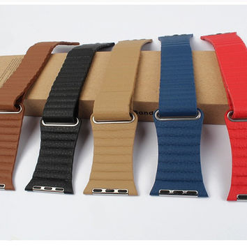 Genuine Leather Loop Watchband For Apple Watch Leather Loop Band With Magnetic Closure For Iwatch Milanese Loop