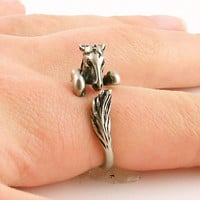 Bronco Horse Animal Wrap Ring - Silver | KejaJewelry - Jewelry on ArtFire