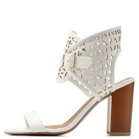 White Qupid Laser Cut-Out Ankle Cuff Sandals