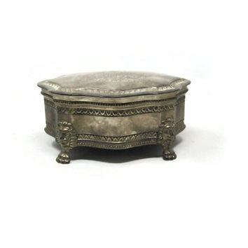 Vintage International Silver Dieu Et Mon Droit Silverplated Jewelry Box - Lion's Head Legs and Red Lining